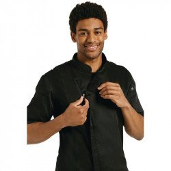 Chef Works Short Sleeve Black Zip Chefs Jacket - Size XL CHEF WORKS Nisbets Vêtements