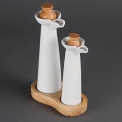 Bouteilles huile et vinaigre blanches - porcelaine OLYMPIA Attente Alex