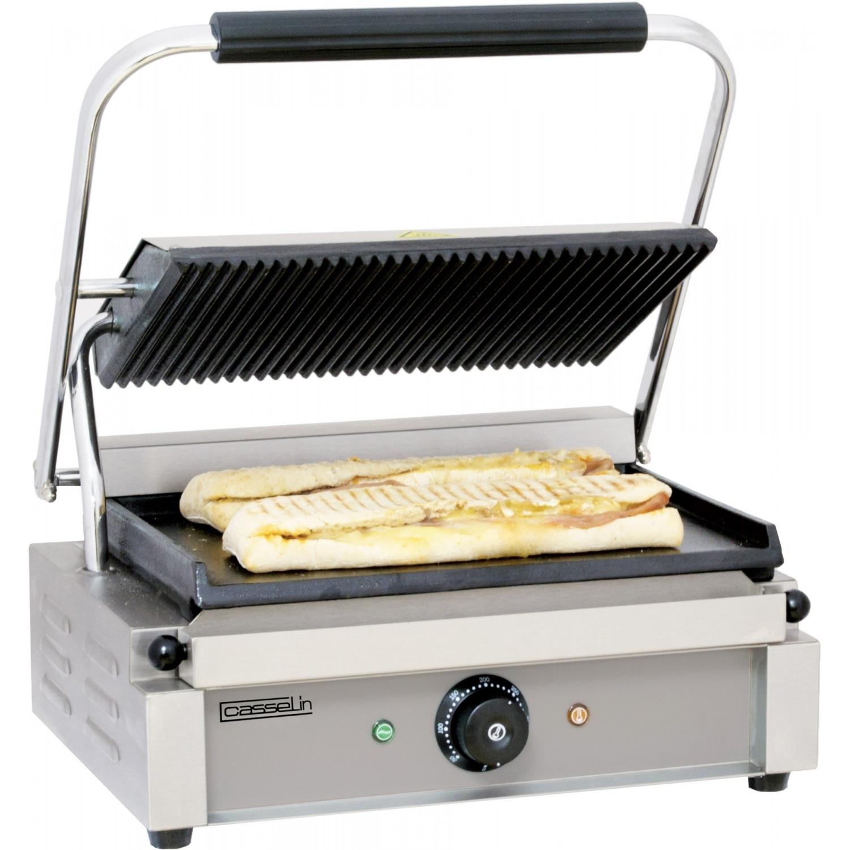 Grand grill Panini lisse / rainuré - L 410 x P 370 x H 200 mm - inox CASSELIN Paninis