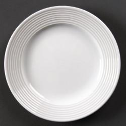 Lot de 12 assiettes à bord large Linear porcelaine Ø150mm OLYMPIA Assiettes