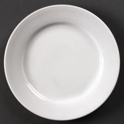 Lot de 12 assiettes à bord large Linear porcelaine Ø200mm OLYMPIA Assiettes