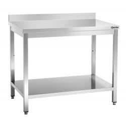 Plan de travail H 850 x P 700 mm, avec dosseret, inox Bartscher Tables inox