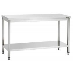 Plan de travail H 850 x P 600 mm, avec étagère basse, inox Bartscher Tables inox