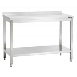 Plan de travail H 850 x P 600 mm, avec dosseret, avec étagère basse, inox Bartscher Tables inox