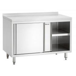 Meuble neutre, portes coulissantes + dosseret, inox Bartscher Tables sur placard