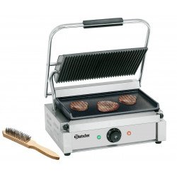 Grill panini lisse / rainuré - L 410 x P 400 x H 200 mm - 2200 W - inox Bartscher Paninis