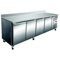 Desserte murale 450 litres réfrigérée, 2 portes profondeur - 600 mm + dosseret EQUIPEMENT DIRECT Tables et soubassements