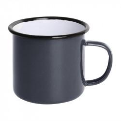 (lot de 6) Mug en acier émaillé gris et noir 350 ml OLYMPIA Collection Acier émaillé Enamel