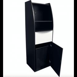 Meuble micro-ondes/poubelle 86 litres, (H) 1800 mm en bois aggloméré, noir EQUIPEMENT DIRECT Poubelles de salle
