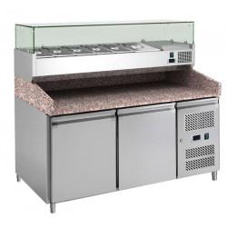 Meuble à pizza 2 portes 390 litres, 600 x 400 mm + plan en granit + vitrine 5 x GN 1/3 / 1 x GN 1/2  L2G Meubles de préparation