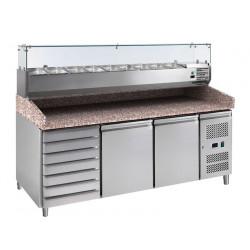 Meuble à pizza 2 portes 390 litres, 600 x 400 mm + plan en granit + vitrine 9 x GN 1/3 L2G Meubles de préparation