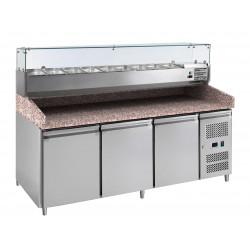 Meuble à pizza 3 portes 580 litres, 600 x 400 mm + plan en granit + vitrine 9 x GN 1/3 L2G Meubles de préparation