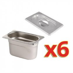 Lot de 6 bacs + couvercles GN 1/9 (P) 100 mm, inox, Vogue VOGUE Bacs inox