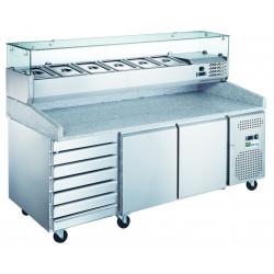 Meuble 580 Litres pizza 2 portes + 7 tiroirs AFI Collin Lucy Comptoirs de préparation