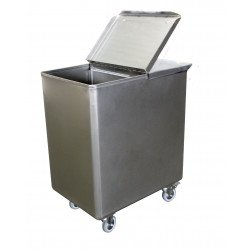 Bac à sel / farine 130 L avec couvercle, inox L2G Cuves roulantes