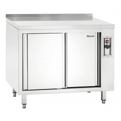 Armoire chauffante (H) 850 x (P) 700 mm + dosseret, inox Bartscher Tables sur placard