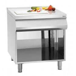 Plan travail (L) 800 x (P) 900 mm + soubassement ouvert, inox Bartscher Tables sur placard