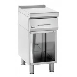 Élément de travail (L) 400 x (P) 700 mm + soubassement ouvert, inox Bartscher Tables sur placard