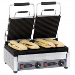Grand grill Panini double rainuré - L 490 x P 520 x H 265 mm - minuteur - inox CASSELIN Paninis