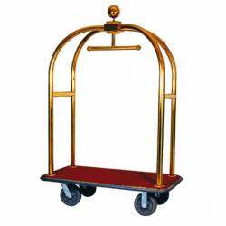 Porte-valise de luxe + coupole - L 1135x P 620 x H 1900 mm - doré - laiton EQUIPEMENT DIRECT Chariots à bagages