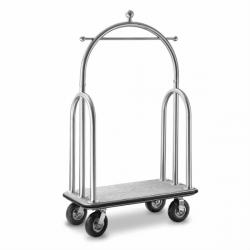 Porte-valise de luxe + coupole - L 1100x P 610 x H 1910 mm - argenté - laiton EQUIPEMENT DIRECT Chariots à bagages