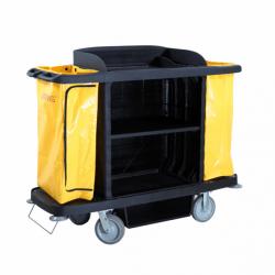 Chariot de service de chambres - L 1536 x P 554 x H 1252 mm - sans porte - noir - Polyéthylène EQUIPEMENT DIRECT Chariots de ...