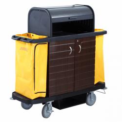 Chariot de service de chambres - L 1536 x P 554 x H 1510 mm - 2 portes + coupole - noir - Polyéthylène EQUIPEMENT DIRECT Char...