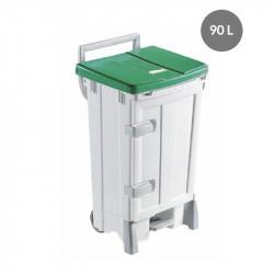 Container avec porte 90 Litres - couvercle vert - Polaris Gilac Poubelles