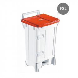 Container avec porte 90 Litres - couvercle rouge - Polaris Gilac Poubelles