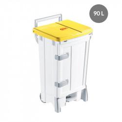 Container avec porte 90 Litres - couvercle jaune - Polaris Gilac Poubelles