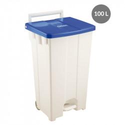 Container à pédale 100 Litres - couvercle bleu Gilac Poubelles