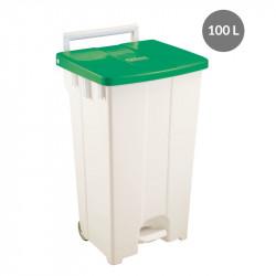 Container à pédale 100 Litres - couvercle vert Gilac Poubelles