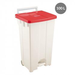 Container à pédale 100 Litres - couvercle rouge Gilac Poubelles