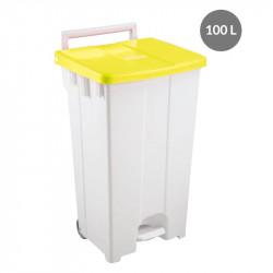 Container à pédale 100 Litres - couvercle jaune Gilac Poubelles