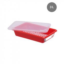 Lot complet bac plat 3 Litres + couvercle + grille - HACCP - rouge Gilac Bacs de distribution
