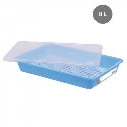 Lot complet bac plat 8 Litres + couvercle + grille - HACCP - bleu Gilac Bacs de distribution