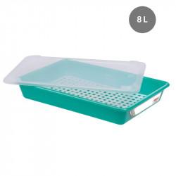 Lot complet bac plat 8 Litres + couvercle + grille - HACCP - vert Gilac Bacs de distribution