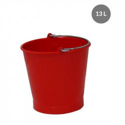 Seau rond 13 Litres avec anse inox - rouge Gilac Cuvettes et sceaux