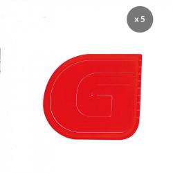 Lot de 5 cornes demi-ronde L 120 x P 133 mm - rouge Gilac Petits matériel