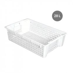 Caisse ajourée 28 Litres empilable / emboîtable - blanc Gilac Caisses de transports