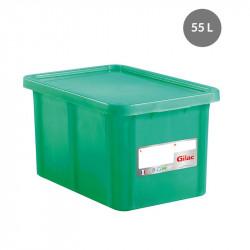Bac 55 Litres rectangulaire + couvercle - HACCP - vert Gilac Bacs de stockage renforcés