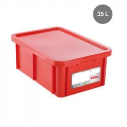 Bac 35 Litres rectangulaire + couvercle - HACCP - rouge Gilac Bacs de stockage renforcés