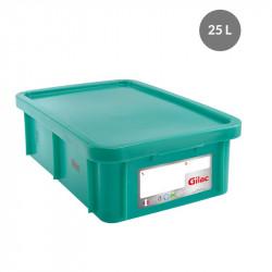 Bac 25 Litres rectangulaire + couvercle - HACCP - vert Gilac Bacs de stockage renforcés