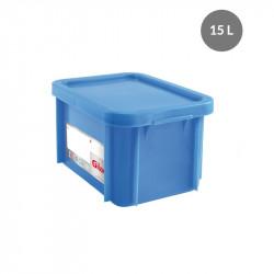 Bac 15 Litres rectangulaire + couvercle - HACCP - bleu Gilac Bacs de stockage renforcés