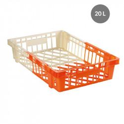 Caisse 20 Litres viennoiserie bicolore - ivoire / orange - polypropylène Gilac Caisses de transports