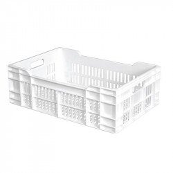 Caisse 40 Litres ajourée - L 400 x P 600 x H 200 mm - blanc Gilac Caisses de transports