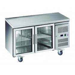 Desserte 314 litres réfrigérée, 2 portes vitrées GN 1/1, sur roulettes EQUIPEMENT DIRECT Tables et soubassements