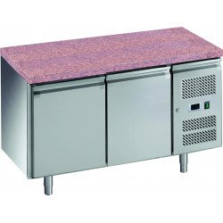 Desserte pâtissière 428 litres réfrigérée, 2 portes pleines 600 x 400 mm + plan en granit L2G Tables et soubassements