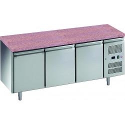 Desserte pâtissière 635 litres réfrigérée, 3 portes pleines 600 x 400 mm + plan en granit L2G Tables et soubassements