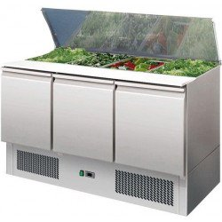 Saladette 368 litres, 3 portes 4 x GN 1/1 + couvercle télescopique EQUIPEMENT DIRECT Saladettes